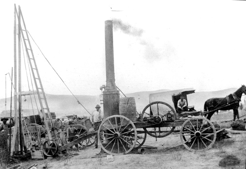 Steam-powered drilling rig from the 1890's.
