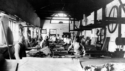 Carpentry workshop in Salt Lake City during the 1880's.