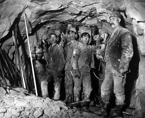 Inside the Eureka Lily Mine about 1900.