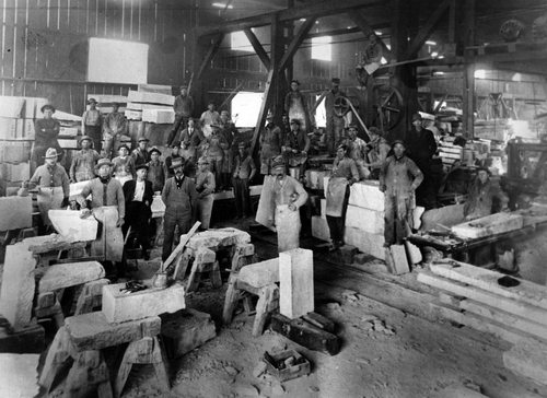 Work shop where artisans dressing stone for the Utah State Capitol,  Undated photo