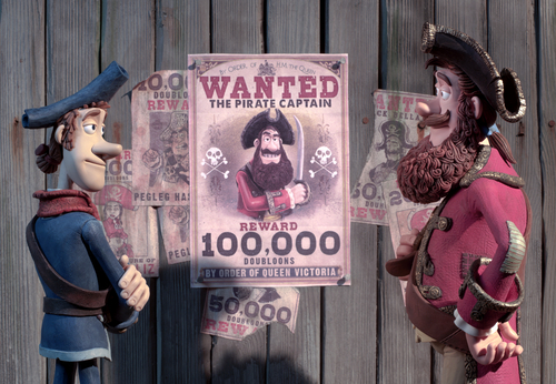 In this film image released by Sony Pictures, Pirate with a Scarf, voiced by Martin Freeman, left, and Pirate Captain, voiced by Hugh Grant, are shown in a scene from
