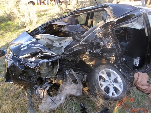 Courtesy Utah Highway Patrol The driver of this vehicle was killed Friday night in an accident on U.S. 89 near Birdseye in Utah County.