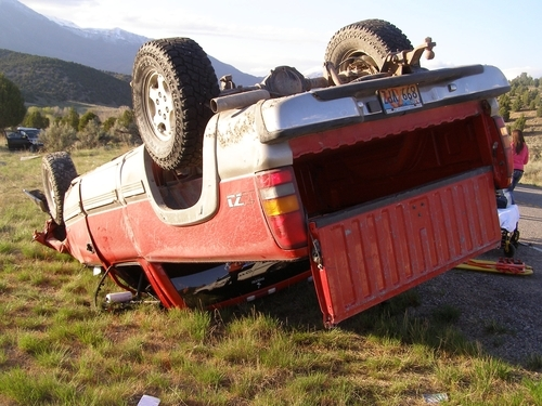 The driver of this pickup was injured Friday night, April 27, 2012, when his vehicle collided with an out-of-control passenger car on U.S. 89 in Utah County. The driver of the passenger car was killed. Courtesy: Utah Highway Patrol