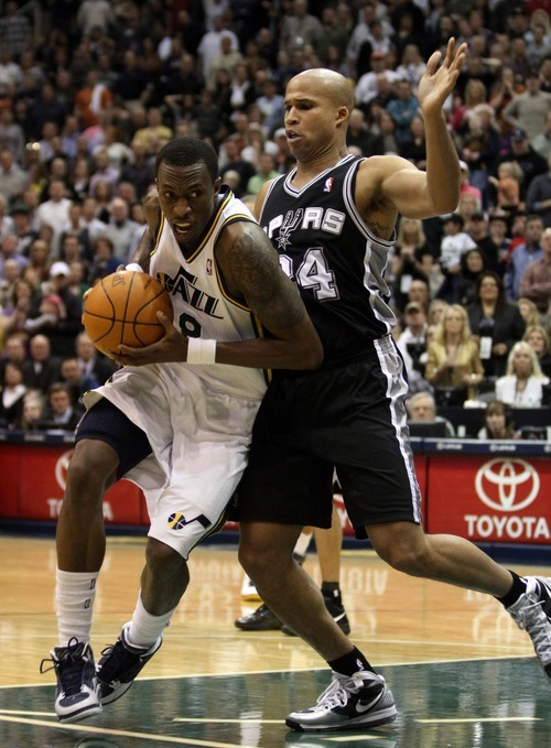 Rick Egan  | The Salt Lake Tribune   Utah Jazz small forward Josh Howard (8) takes the ball inside, as San Antonio Spurs small forward Richard Jefferson (24) defends,  in NBA action in Salt Lake City, Monday, February 20, 2012.