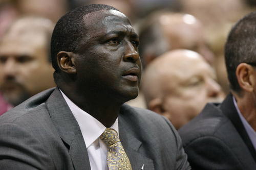 Chris Detrick     The Salt Lake Tribune Utah Jazz head coach Tyrone Corbin watches during the second quarter of the game at EnergySolutions Arena Thursday April 26, 2012. .