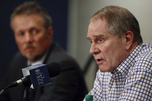 Trent Nelson     The Salt Lake Tribune Utah Jazz owner Greg Miller, left, and general manager Kevin O'Connor address the trade of star Deron Williams during a press conference in Salt Lake City, Utah, Wednesday, February 23, 2011.