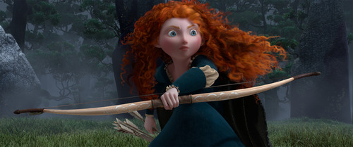 In this film image released by Disney-Pixar, Merida, voiced by Kelly Macdonald, is shown in a scene from