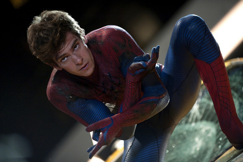 In this film image released by Sony Pictures,  Andrew Garfield is shown in a scene from