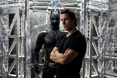 In this film image released by Warner Bros., Christian Bale portrays Bruce Wayne and Batman in a scene from