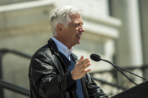 Chris Detrick  |  The Salt Lake Tribune Former Salt Lake City Mayor Rocky Anderson speaks during a Unite Against the War on Women rally at the Utah State Capitol on Saturday.