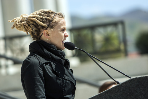 Chris Detrick  |  The Salt Lake Tribune ACLU Development Director Anna Brower speaks during a Unite Against the War on Women rally at the Utah State Capitol on Saturday.