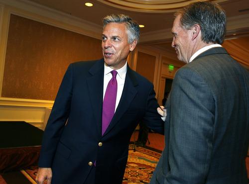 Scott Sommerdorf  |  The Salt Lake Tribune              Jon Huntsman, Jr. greets business leaders as he arrives to speak at the 2012 Corporate Friends Breakfast and Envision Utah's 15th Anniversary Celebration, at the Little America Hotel Ballroom, Monday, April 30, 2012.