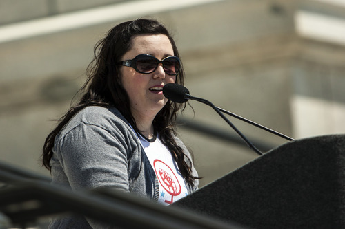 Chris Detrick  |  The Salt Lake Tribune Sara Librandi speaks during a Unite Against the War on Women rally at the Utah State Capitol on Saturday.