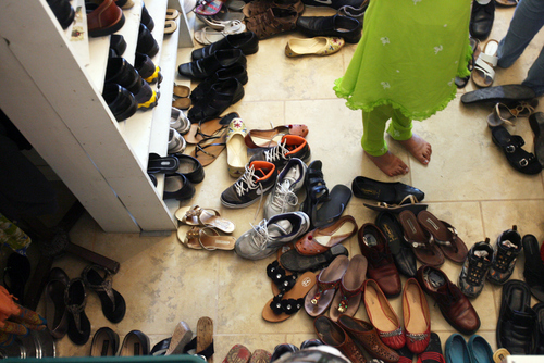 Kim Raff | The Salt Lake Tribune People find their shoes to leave after a Sikhs of Utah worship service at the Sikh Temple in Salt Lake City, Utah on April 22, 2012.