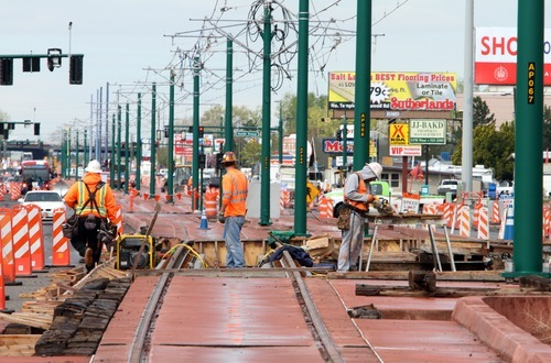 Rick Egan  | The Salt Lake Tribune  TRAX construction along North Temple looking west in Salt Lake City.