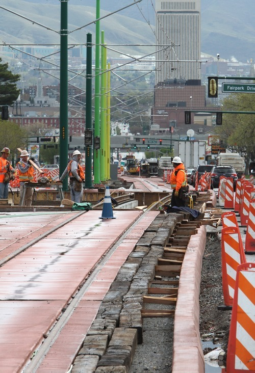 Rick Egan  | The Salt Lake Tribune  TRAX construction along North Temple looking east in Salt Lake City.