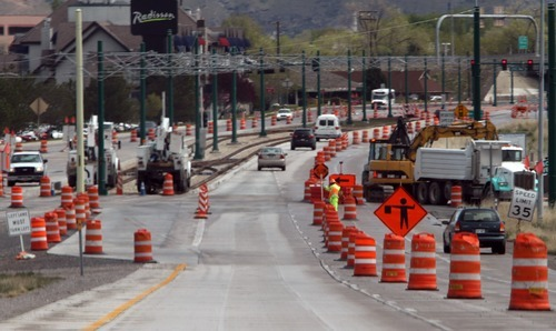 Rick Egan  | The Salt Lake Tribune  TRAX construction, on North Temple, looking west.