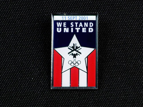 The Salt Lake Olympics pin commemorating the terrorist attacks on Sept. 11, 2001. (photo courtesy Utah State History)
