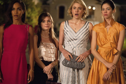 From left: Rose (Megalyn Echikunwoke), Heather (Carrie MacLemore), Violet (Greta Gerwig) and Lily (Analeigh Tipton) are on a mission to civilize their college in Whit Stillman's campus comedy
