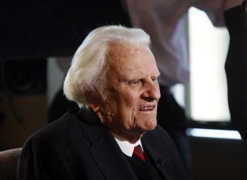 FILE - In this Dec. 20, 2010 file photo, evangelist Billy Graham, 92, speaks during an interview at the Billy Graham Evangelistic Association headquarters in Charlotte, N.C. The Rev. Billy Graham urged North Carolina voters Wednesday, May 2, 2012 to support an amendment to the state constitution banning gay marriage, a move that one observer says is highly unusual but another says is in keeping with the minister's moral beliefs.  (AP Photo/Nell Redmond, File)