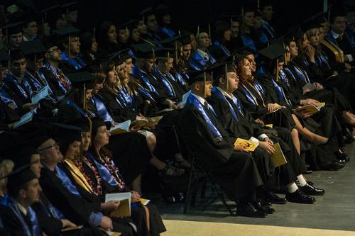 Chris Detrick  |  The Salt Lake Tribune Graduates of Salt Lake Community College listen during the 2012 commencement ceremony Maverik Center Thursday May 3, 2012.  Four-thousand, one-hundred and eighty-five students graduated from Salt Lake Community College.