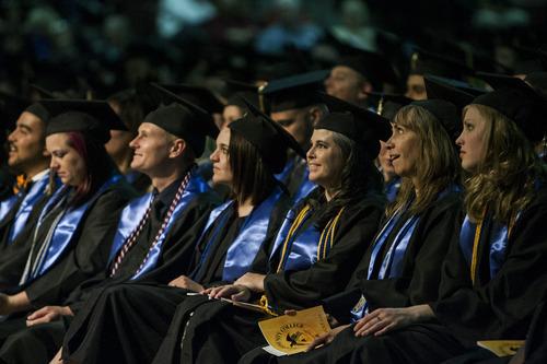 Chris Detrick  |  The Salt Lake Tribune Graduates of Salt Lake Community College listen during the 2012 commencement ceremony Maverik Center on Thursday. More than four thousand students graduated from Salt Lake Community College.
