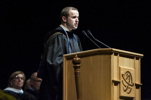 Chris Detrick  |  The Salt Lake Tribune Salt Lake Community College student President Michael Bird speaks during the 2012 commencement ceremony Maverik Center Thursday May 3, 2012.  Four-thousand, one-hundred and eighty-five students graduated from Salt Lake Community College.