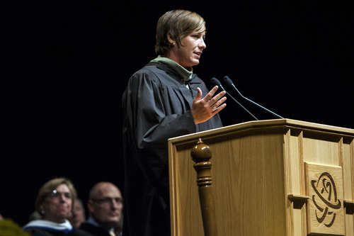 Chris Detrick  |  The Salt Lake Tribune United States' Women's National Team player Abby Wambach speaks during the 2012 Salt Lake Community College commencement ceremony Maverik Center on Thursday. Four-thousand, one-hundred and eighty-five students graduated from Salt Lake Community College.