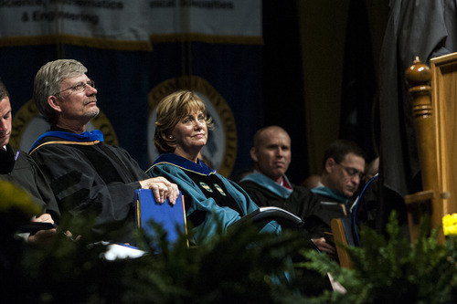 Chris Detrick  |  The Salt Lake Tribune Salt Lake Community College President Dr. Cynthia A. Bioteau listens during the 2012 commencement ceremony Maverik Center Thursday May 3, 2012.  Four-thousand, one-hundred and eighty-five students graduated from Salt Lake Community College.