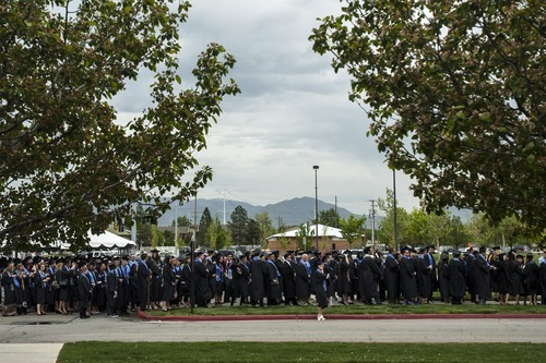 Chris Detrick  |  The Salt Lake Tribune Graduates of Salt Lake Community College walk into the Maverik Center for the 2012 commencement ceremony Thursday May 3, 2012.  Four-thousand, one-hundred and eighty-five students graduated from Salt Lake Community College.