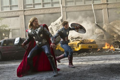 Thor (Chris Hemsworth) and Captain America (Chris Evans) join forces in