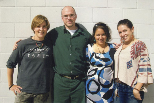 From left to right: Lauren Wood, TIm DeChristopher, Henia Belalia and Dylan Rose Scheider. Friends and Peaceful Uprising activists visit convicted oil and gas lease monkeywrencher Tim DeChristopher where he's held at the minimum-security federal prison camp at Herlong, Calif. courtesy of Peaceful Uprising