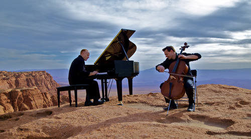 Utah musicians Jon Schmidt, piano, and Steven Sharp Nelson, cello, are the front men for The Piano Guys, a video music project that is attracting millions of viewers on YouTube. (Courtesy Roy Pryor Photography)