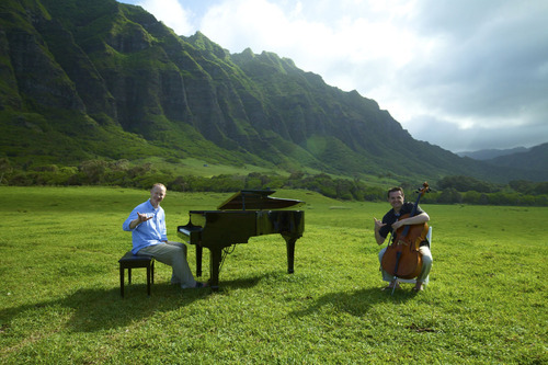 Pianist Jon Schmidt and cellist Steven Sharp Nelson photographed at Kuloa Ranch, in Oahu, Hawaii, for their video