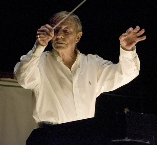 Paul Fraughton | The Salt Lake Tribune Ballet West music director and chief conductor Terence Kern, pictured here on April 12 conducting a dress rehearsal performance of