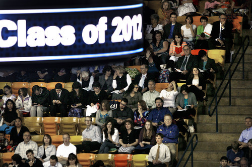 Scott Sommerdorf  |  The Salt Lake Tribune              Family members and others making up the audience watch as the Utah State University Commencement is underway, Saturday, May 5, 2012.