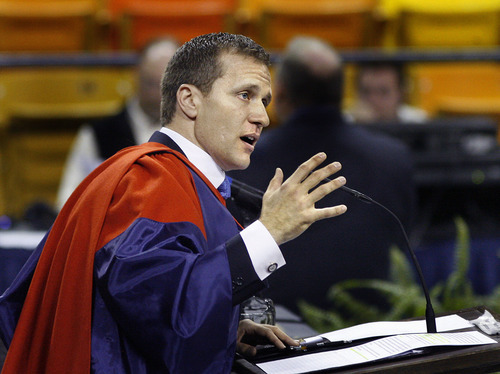 Scott Sommerdorf  |  The Salt Lake Tribune              USU's commencement speaker, Eric Greitens, author, documentary photographer, and former Navy SEAL speaks at the Utah State University Commencement, Saturday, May 5, 2012.