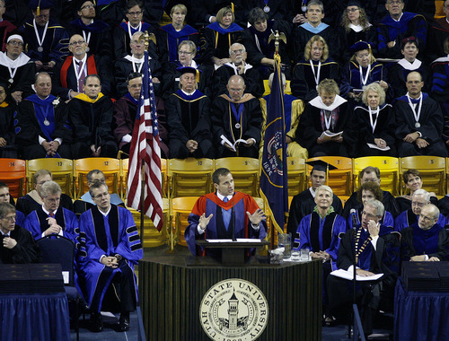 Scott Sommerdorf  |  The Salt Lake Tribune              Commencement speaker Eric Greitens, author, documentary photographer, and former Navy SEAL, speaks at Utah State University's Commencement, Saturday, May 5, 2012.
