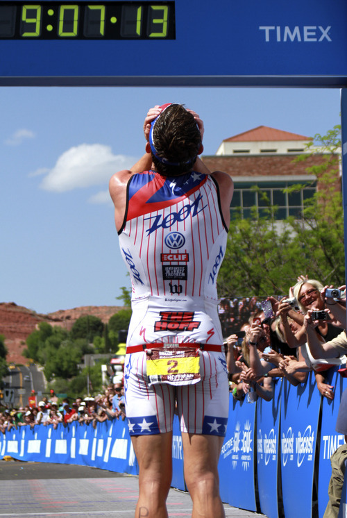 Ben Hoffman looks back at the finish line after winning the St. George Ironman race, Saturday, May 5, 2012, in St. George, Utah. (AP Photo/The Spectrum, Asher Swan) NO SALES; TV OUT; MAGS OUT