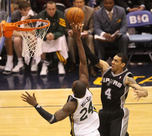 Rick Egan  | The Salt Lake Tribune   San Antonio Spurs guard Daniel Green (4) goes the the hoop, as Utah Jazz power forward Paul Millsap (24) defends, in NBA playoff action at the EnergySolutions Arena, Saturday, May 5, 2012.