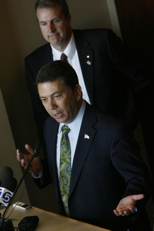 Francisco Kjolseth  |  The Salt Lake Tribune Rep. Stephen Sandstrom argues over maintaining a balance of compassion and the rule of law during a press conference in support of his immigration bill at the Utah State Capitol. In background is Rep. Chris Herrod.  Salt Lake City Nov. 17, 2010.