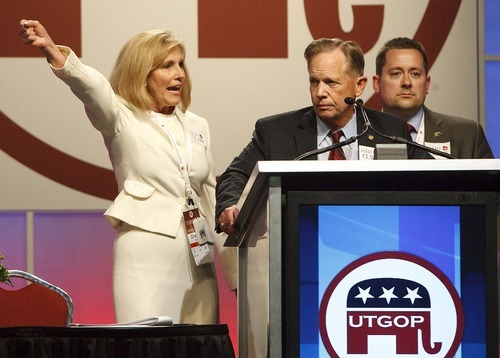 Leah Hogsten  |  The Salt Lake Tribune After 2nd Congressional District candidate Milt Hanks alleged that his fellow candidates conspired to oust Chris Stewart. Cherilyn Eagar (left), Chuck Williams (center) and Howard Wallack (not shown) all withdrew their nominations and threw their support to Dave Clark. Stewart went on to win the Republican nomination, though the GOP is conducting a promised investigation into the proceedings.
