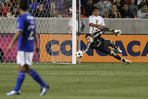 Chris Detrick  |  The Salt Lake Tribune  Real Salt Lake goalkeeper Kyle Reynish #24 dives to save the ball during the first half of the game at Rio Tinto Stadium Tuesday October 19, 2010.  Real Salt Lake is winning the game 1-0.