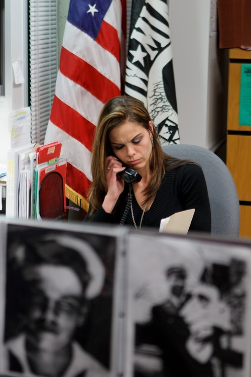 Trent Nelson  |  The Salt Lake Tribune Jen Carver at work in the Veterans Services office at Weber State University Wednesday, March 28, 2012 in Ogden, Utah. U.S. Army veteran Jen Carver served two tours in Iraq and is now a full time college student with an on-campus job while raising her 4-year-old son.