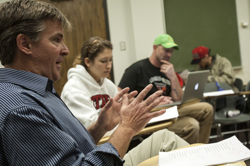 Chris Detrick  |  The Salt Lake Tribune Maximilian Werner teaches the class 'Writing about War' at the University of Utah Tuesday April 17, 2012.