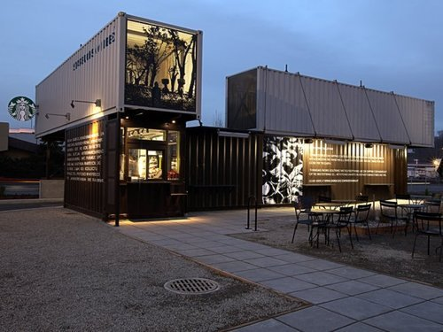 A semi-permanent Starbucks coffee shop in a remodeled shipping container fits the industrial aesthetic sought by the neighborhood, if not its goal of small local businesses. (Courtesy of Kentlands Initiative)