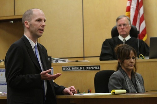 Rick Egan  | The Lake Tribune   Prosecutor Bryce Nelson gives the opening statement for the state, during Steve Powell's trial for voyeurism charges in the Pierce County Superior Court house, in Tacoma, Washington, Wednesday, May 9, 2012.