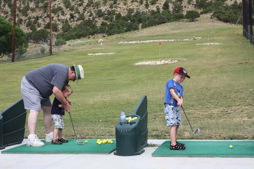 Participants in the Rockin' Utah program, through Utah State Parks, hit golf balls at Palisdade State Park. Courtesy Utah State Parks