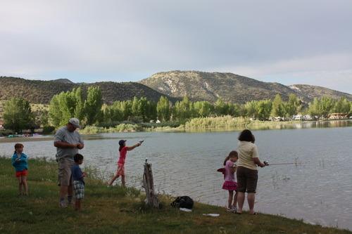Participants in the Rockin' Utah program, through Utah State Parks, fish at Palisdade State Park. Courtesy Utah State Parks