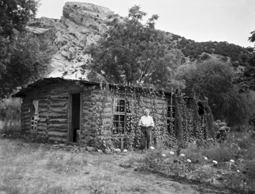 Courtesy Uintah County Regional History Center Josie Bassett McKnight Ranney Williams Wells Morris at her Cub Creek homestead on the west end of Blue Mountain.
